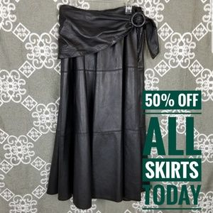 "Leather dirndl a line skirt ""denim.. in pelle"""